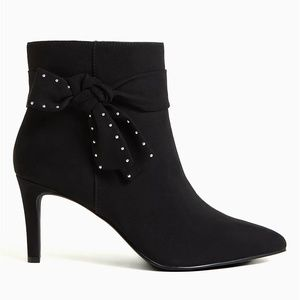 Torrid Black Faux Suede Side Bow Ankle Boo…